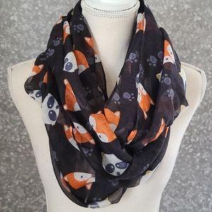 Fox and raccoon infinity scarf